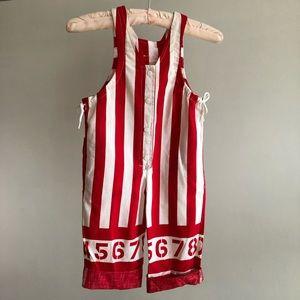 Vintage Striped 123 Snap Up Sleeveless Jumper